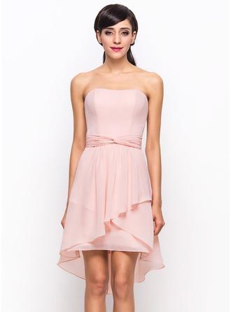 A-Line/Princess Sweetheart Asymmetrical Chiffon Bridesmaid Dress With Cascading Ruffles