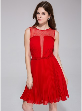 A-Line/Princess Scoop Neck Knee-Length Chiffon Tulle Holiday Dress With Flower(s) Pleated