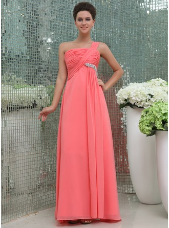 Chiffon One-shoulder Floor-length Bridesmaid Dress With Ruffles And Beading