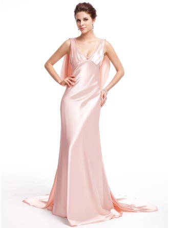 Trumpet/Mermaid V-neck Watteau Train Tulle Charmeuse Evening Dress With Beading