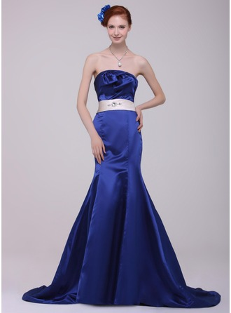 Trumpet/Mermaid Strapless Court Train Satin Evening Dress With Sash Beading