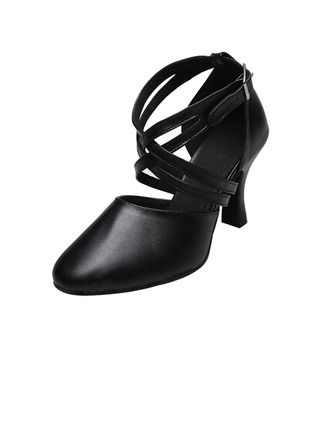 Women's Real Leather Heels Latin With Ankle Strap Dance Shoes
