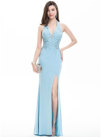 Sheath/Column Halter Floor-Length Jersey Prom Dress With Beading Sequins Split Front