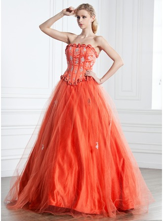 Ball-Gown Strapless Floor-Length Satin Tulle Quinceanera Dress With Ruffle Beading Appliques Lace