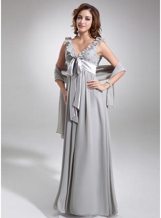 Empire V-neck Floor-Length Chiffon Charmeuse Bridesmaid Dress With Beading Bow(s) Cascading Ruffles