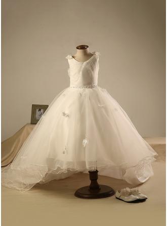 Robe Marquise Longueur genou Robes à Fleurs pour Filles - Polyester/Coton Sans manches Col rond avec Brodé/Plissée