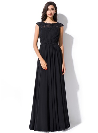 Vestidos princesa/ Formato A Decote redondo Longos De chiffon Renda Vestido de festa com Pregueado Bordado Lantejoulas