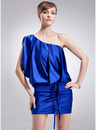 Sheath/Column One-Shoulder Short/Mini Charmeuse Cocktail Dress With Ruffle