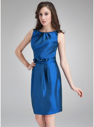 Sheath/Column Scoop Neck Knee-Length Taffeta Cocktail Dress With Ruffle Flower(s)