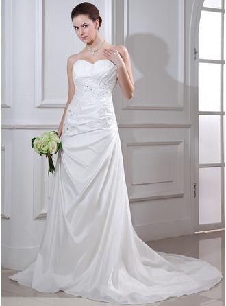 Trumpet/Mermaid Sweetheart Court Train Taffeta Wedding Dress With Ruffle Beading Appliques Lace