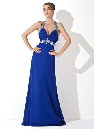 A-Line/Princess Halter Sweep Train Chiffon Holiday Dress With Ruffle Beading