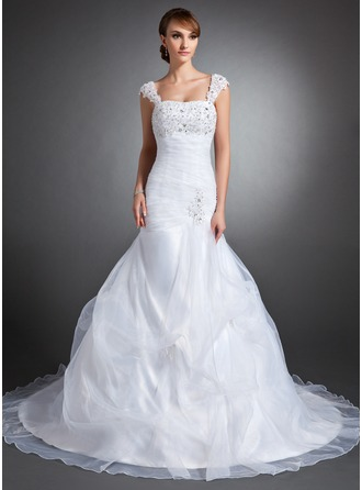Trumpet/Mermaid Sweetheart Chapel Train Satin Organza Wedding Dress With Ruffle Lace Beading Sequins