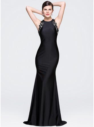 Trumpet/Mermaid Scoop Neck Court Train Jersey Evening Dress With Lace Beading