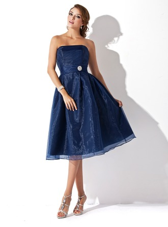 A-Line/Princess Strapless Knee-Length Organza Bridesmaid Dress With Ruffle Crystal Brooch