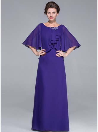 Sheath/Column Scoop Neck Floor-Length Chiffon Mother of the Bride Dress With Ruffle Beading Cascading Ruffles