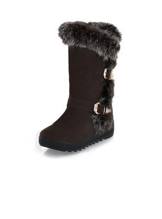 Suède Talon bas Bottes mi-mollets Bottes neige avec Fourrure chaussures