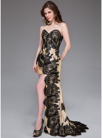 Sheath/Column Sweetheart Asymmetrical Taffeta Prom Dress With Lace