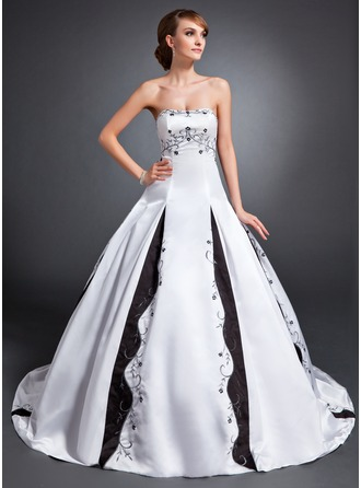 Ball-Gown Strapless Court Train Satin Wedding Dress With Embroidered