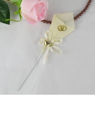 """""""Doubles Coeurs"""" Polyester Mariage Décoration pour gâteaux (Lot de 4)"""