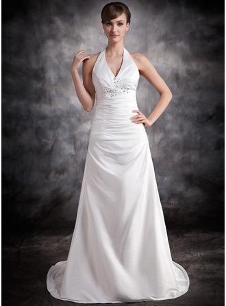 A-Line/Princess Halter Court Train Taffeta Wedding Dress With Ruffle Lace Beading