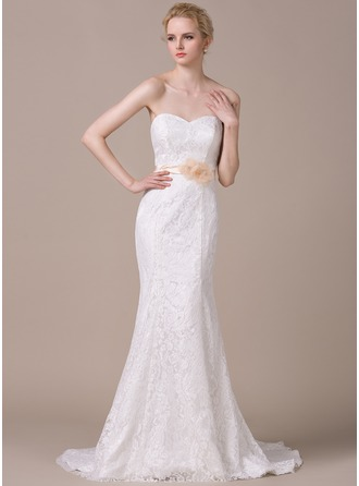 Trumpet/Mermaid Sweetheart Court Train Charmeuse Lace Wedding Dress With Sash Beading Flower(s) Bow(s)