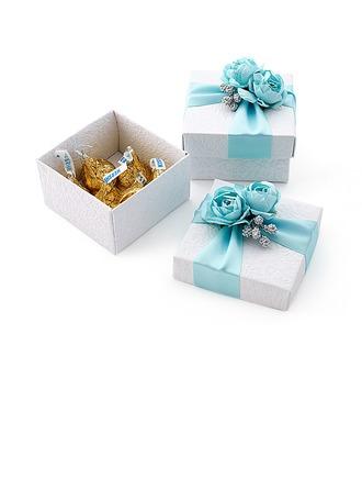 Belle Cuboïd Boîtes cadeaux avec Fleurs/Rubans