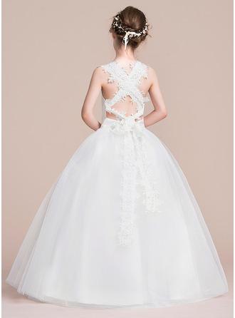 Ball Gown Floor-length Flower Girl Dress - Satin/Tulle Sleeveless Square Neckline