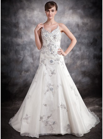 Ball-Gown V-neck Chapel Train Satin Organza Wedding Dress With Appliques Lace Sequins