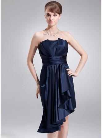 Sheath/Column Scalloped Neck Asymmetrical Charmeuse Holiday Dress With Cascading Ruffles
