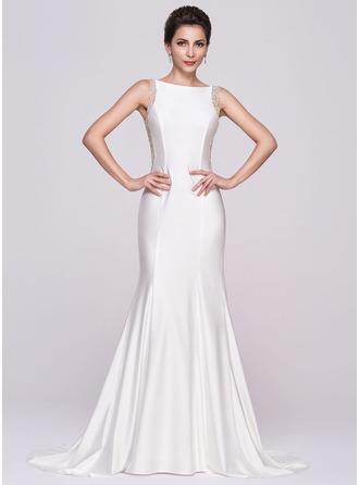 Trumpet/Mermaid Scoop Neck Court Train Tulle Jersey Evening Dress With Beading Sequins
