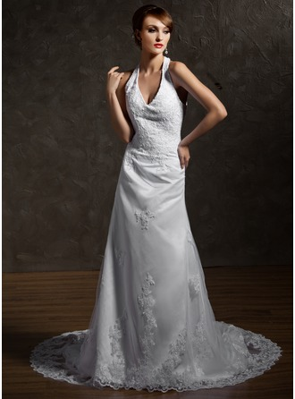 A-Line/Princess Halter Cathedral Train Satin Tulle Wedding Dress With Lace Beading