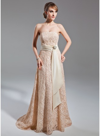A-Line/Princess Strapless Sweep Train Lace Mother of the Bride Dress With Sash Crystal Brooch