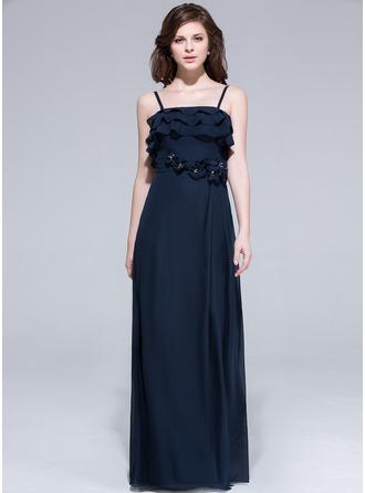 A-Line/Princess Floor-Length Chiffon Evening Dress With Beading Flower(s) Cascading Ruffles