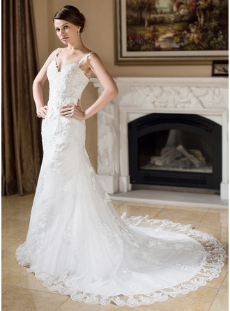 Trumpet/Mermaid Sweetheart Chapel Train Tulle Wedding Dress With Beading Appliques Lace