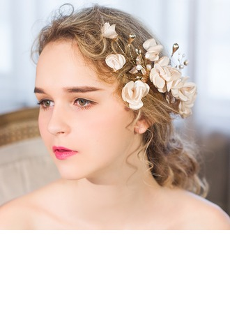 Glamour De faux pearl/Tissu Des peignes et barrettes/Fleurs et plumes