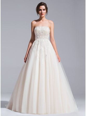 Ball-Gown Strapless Cathedral Train Tulle Wedding Dress With Beading Appliques Lace Sequins