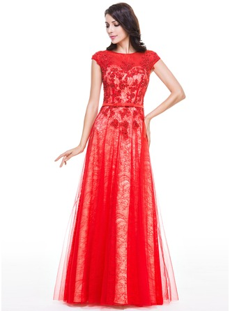 A-Line/Princess Scoop Neck Floor-Length Tulle Charmeuse Lace Evening Dress With Beading Sequins Bow(s)