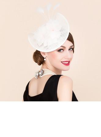 Dames Style Vintage Batiste avec Fleur en soie Chapeaux de type fascinator