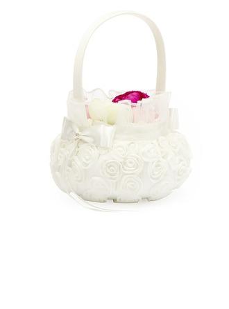 Belle Panier à fleur à Satiné avec Rose organza blanche