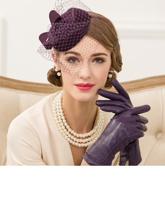 Dames Style Vintage Coton avec Tulle Chapeaux de type fascinator