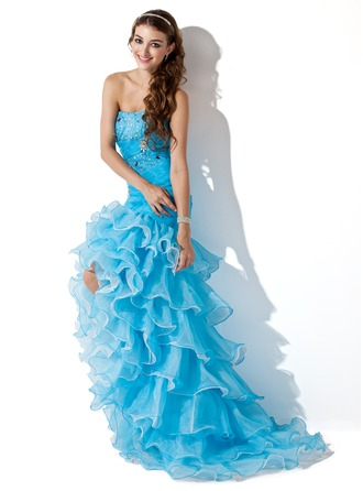 Trumpet/Mermaid Sweetheart Asymmetrical Organza Satin Prom Dress With Beading Split Front Cascading Ruffles