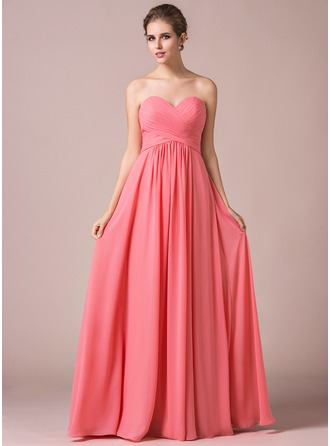 A-Line Crinkle Sweetheart Floor-length Chiffon Bridesmaid Dress