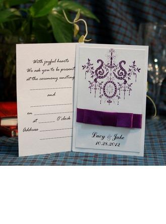 personalisé Style Florale Carte plate Invitation Cards avec Rubans