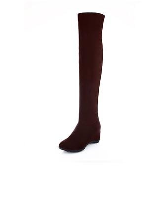 Suède Talon plat Plateforme Cuissardes chaussures