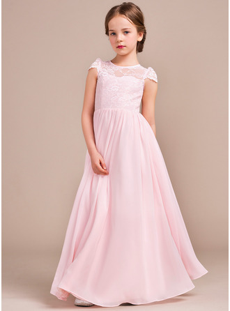 A-Line/Princess Floor-length Flower Girl Dress - Chiffon/Lace Sleeveless Scoop Neck