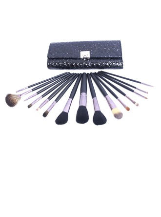 15 Pcs Makeup Brush Set With Black Crocodile Skin Pouch