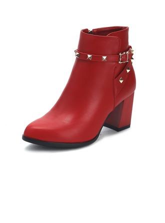 Femmes Similicuir Talon bottier Bottines avec Rivet chaussures