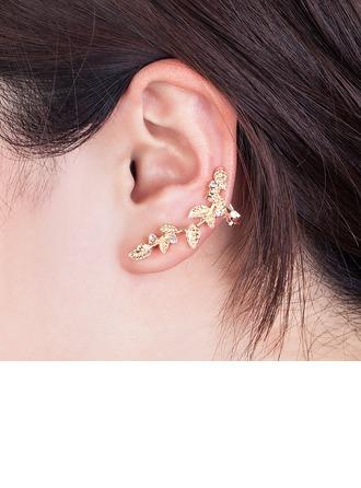 Feuilles en forme Alliage Strass Plaqué or Femmes Boucles d'oreille de mode