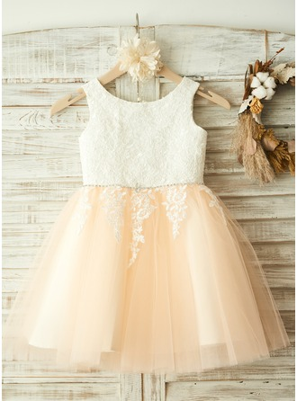 A-Line/Princess Knee-length Flower Girl Dress - Tulle Sleeveless Scoop Neck With Appliques/Rhinestone