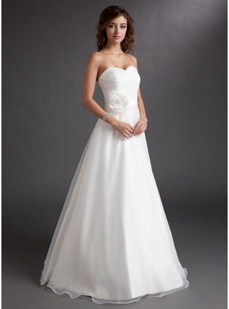 A-Line/Princess Sweetheart Floor-Length Satin Organza Wedding Dress With Ruffle Flower(s)